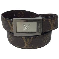 Louis Vuitton Brown Leather Reversible LV Pattern Belt