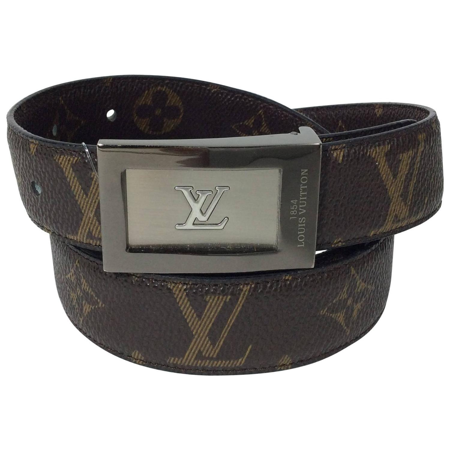 louis vuitton brown leather reversible lv pattern belt at