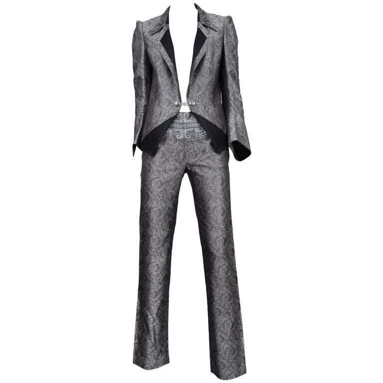Balenciaga Silver Paisely Blazer & Pants Suit 2006 For Sale