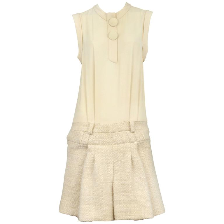 Balenciaga Cream Box Pleat Dress 2006