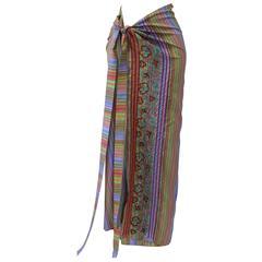 Rare Etro Multicolor Floral Embroidered Striped Silk Wrap Maxi Skirt