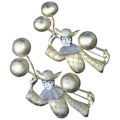 Unique Pair of Large Clown Brooches Designed by Polcini c 1970