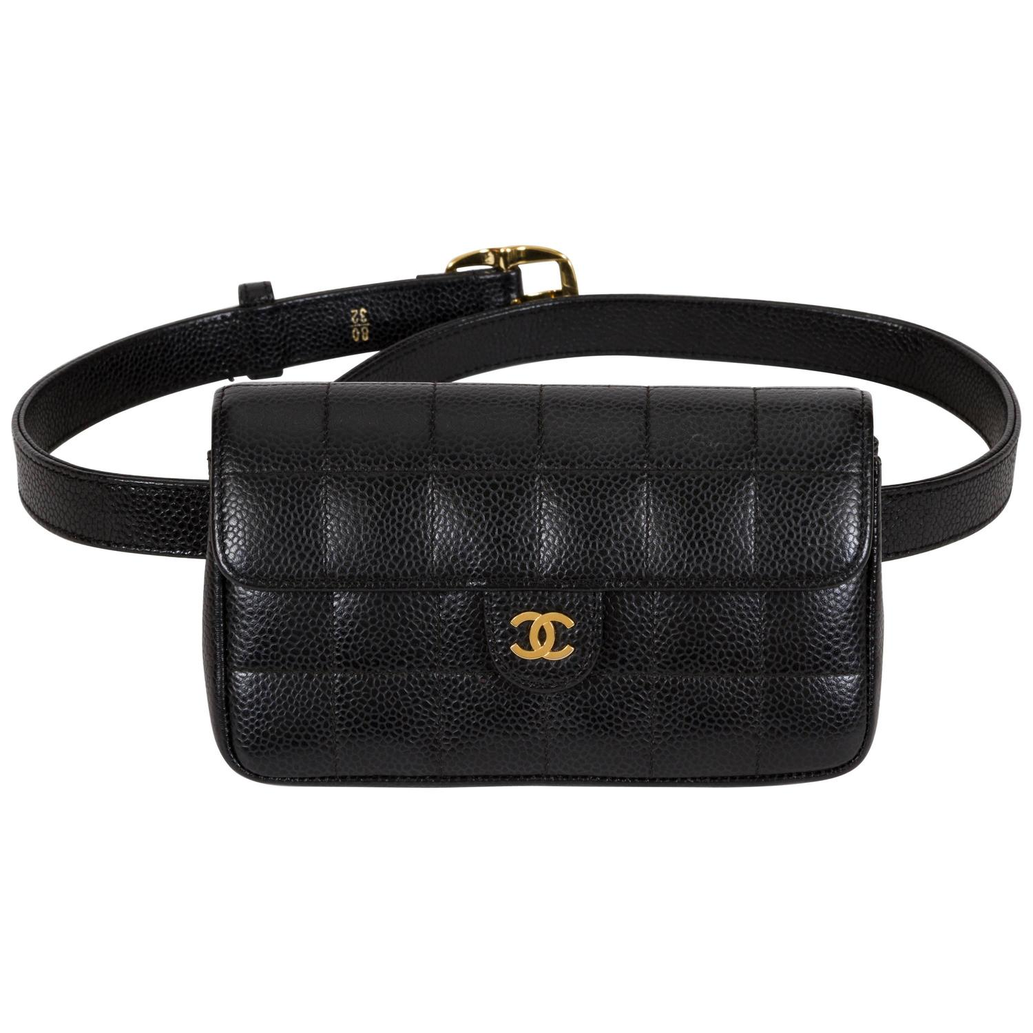 Chanel Black Caviar Quilted Fanny Belt Pack Bag At 1stdibs