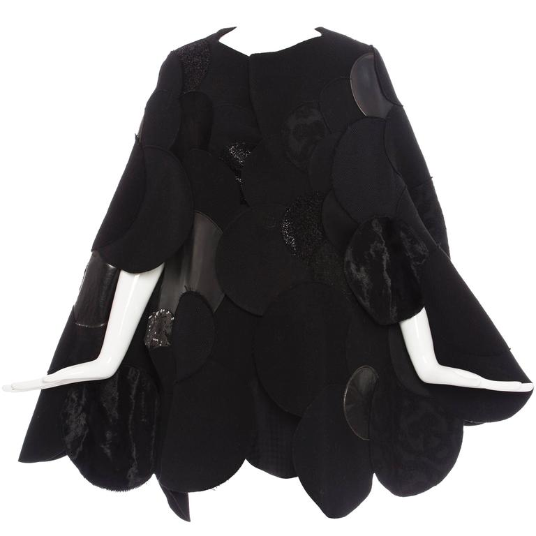 Junya Watanabe Comme des Garcons Black Wool Sequin Leather Cape, Fall 2014