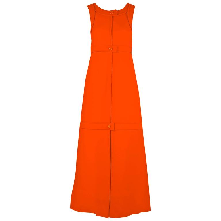 1960s Courreges Haute Couture Orange A-line Sleeveless Wool Maxi Dress For Sale