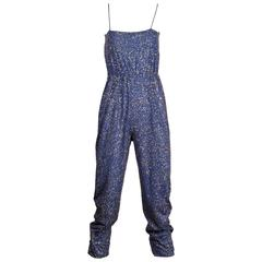 Pat Richards Vintage Blue Metallic Glitter Sequin Jersey Knit Jumpsuit, 1970s
