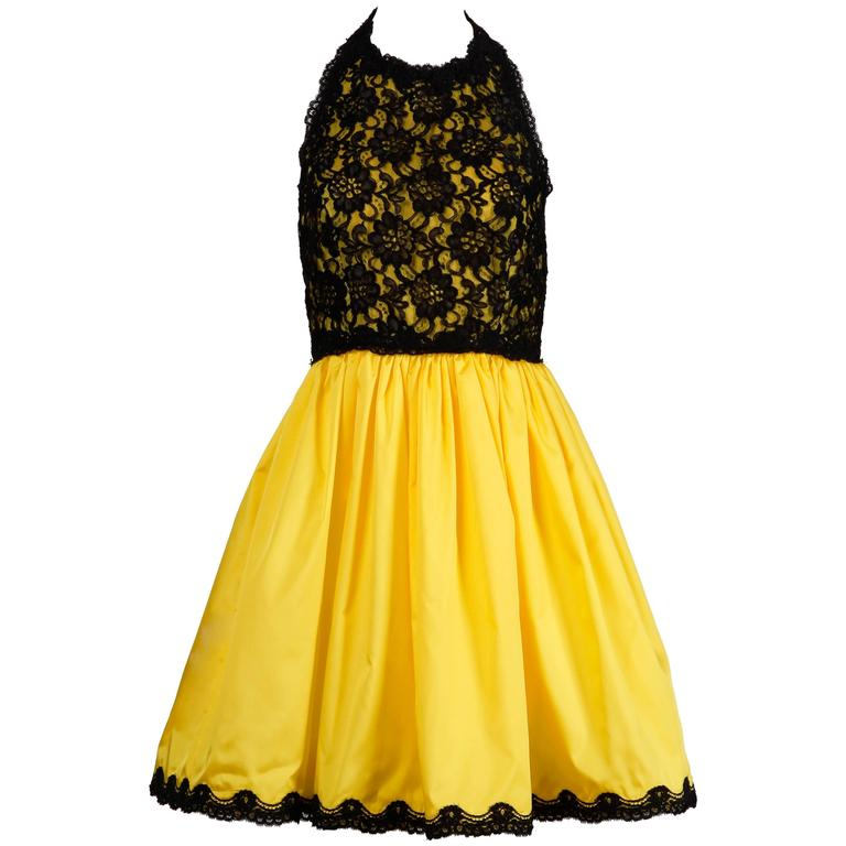 Unworn with Tags Bill Blass Vintage Yellow + Black Lace Halter Dress 1