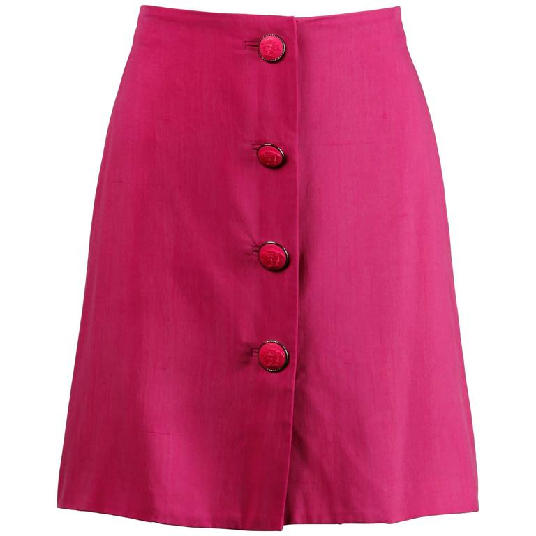 Gianni Versace Couture 1990s Vintage Pink Silk Skirt with Medusa Buttons