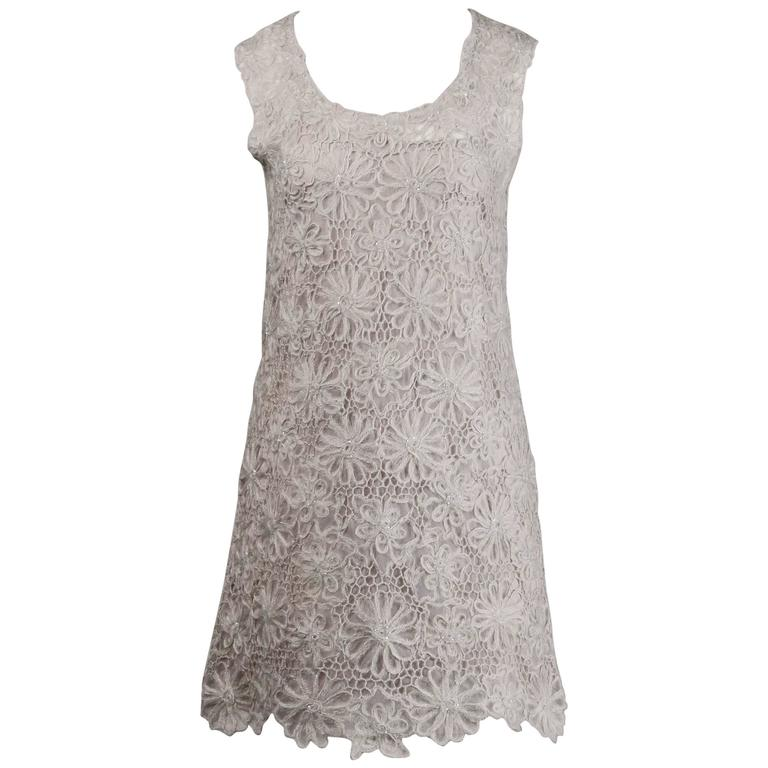 Moschino Vintage 1990s Gray Beaded Crochet Lace Shift Dress