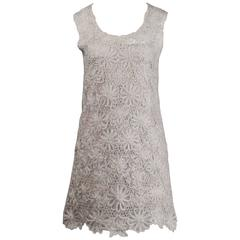Moschino Vintage Gray Beaded Crochet Lace Shift Dress, 1990s