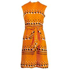 Adele Simpson 1960s Vintage Orange Mod Geometric Print Dress