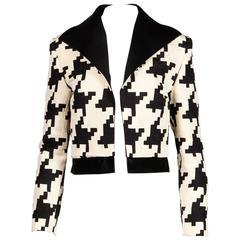 Genny by Vesace Vintage 1990s Silk + Wool Houndstooth Print Jacket