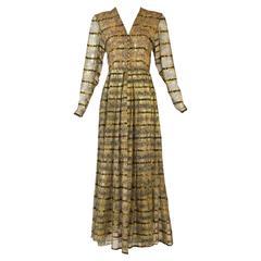 1970s Bergdorf Goodman Silk and Gold Metallic Print Dress