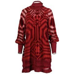 Jean Paul Gaultier Burgundy Op Art Burnout Velvet Sheer Mesh Dress
