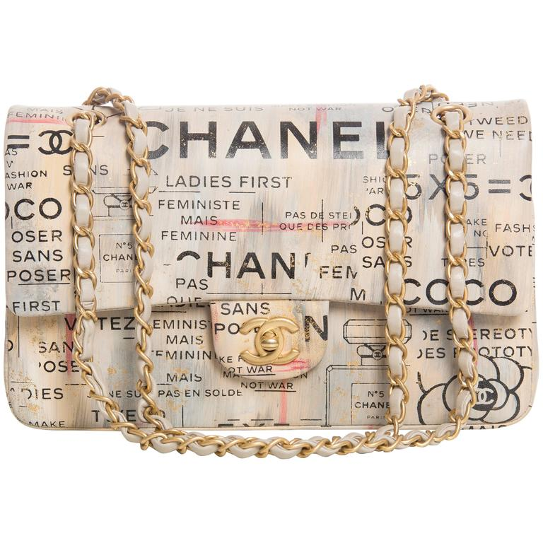 Chanel Limited Edition Graffiti Newspaper Print Double Flap Bag, Spring 2015 For Sale