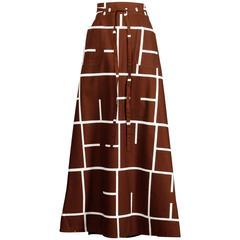 1970s Betty Carol Vintage Mod Brown + White Geometric Print Maxi Skirt