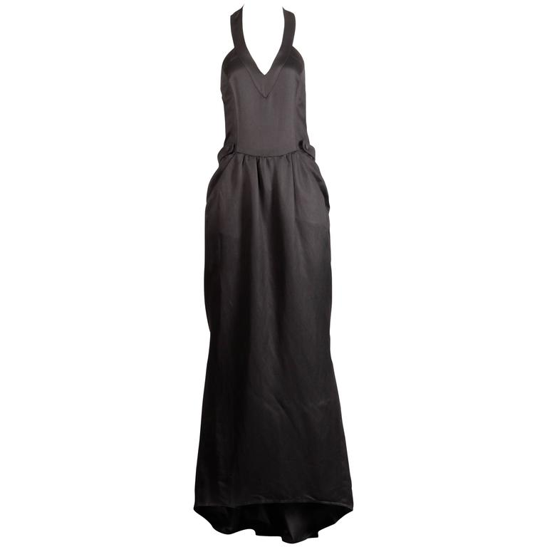 afed4109701c Fendi 365 for Neiman Marcus Vintage 1970s Black Evening Gown with Back  Train For Sale at 1stdibs