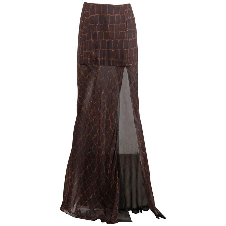 Chado by Ralph Rucci Crocodile Print Silk Maxi Skirt with High Leg Slit