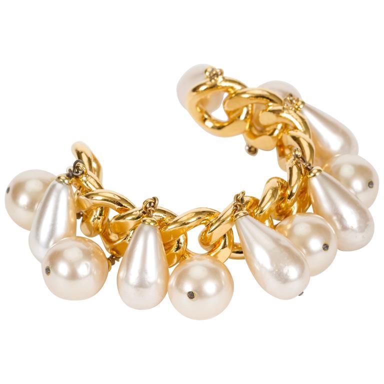 Chanel Pearl Charm Chain Cuff Bracelet 1
