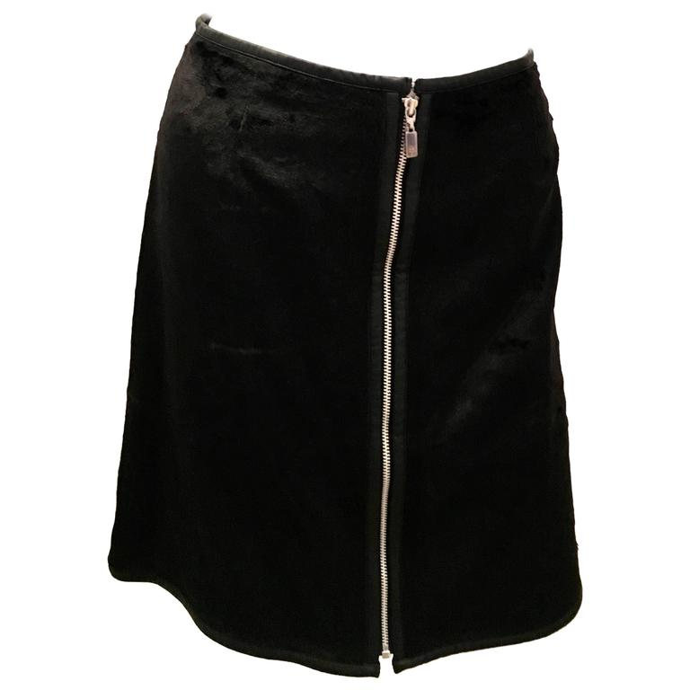 Courreges Black Mini Skirt Faux Fur  Mod
