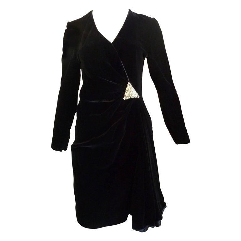 1990s Valentino Night Black Velvet Cocktail Dress For Sale