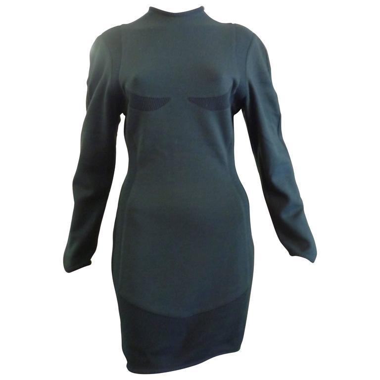 Thierry Mugler Maille Hunter Green Wool Dress (44), 1980s