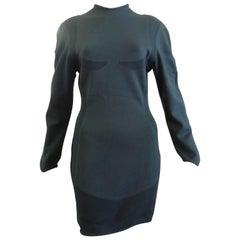 Thierry Mugler Maille Hunter Green Wool Dress, 1980s