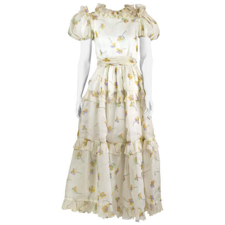 1970s Bill Blass Floral Print Silk Organza  Ruffled  Party Dress Gown 2