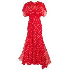 1980s Bruce Oldfield Polka Dot Silk Chiffon Cocktail Dress