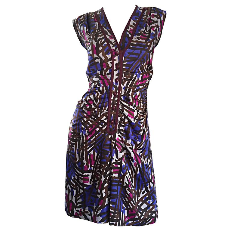 Yves Saint Laurent Rive Gauche Vintage Graffiti Print Silk Sleeveless Dress