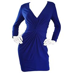 1990s Tadashi Shoji Royal Blue Vintage Bodycon Ruched Long Sleeve Mini Dress
