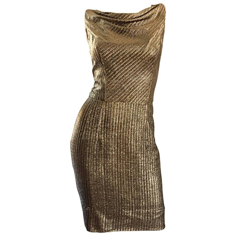 Amazing 1950s Gold Bronze Silk Metallic Late 50s Vintage Wiggle Bombshell Dress  For Sale