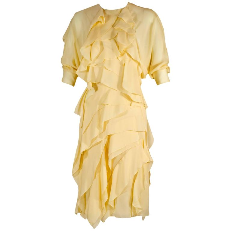 Fall 2014 Chloé Runway Pastel Yellow Ruffled  Layered Silk Chiffon Dolman Dress