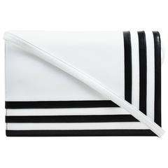 Vintage Valentino Garavani White Black Leather Striped Flap Bag