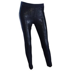Paul Smith Size 46 / 14 - 16 Black Wet Look Skinny Tailored Pants Trousers