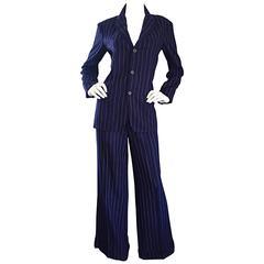 Vintage Ralph Lauren Navy Blue Pinstripe Italian Wide Leg Size 8 Pant Suit RARE