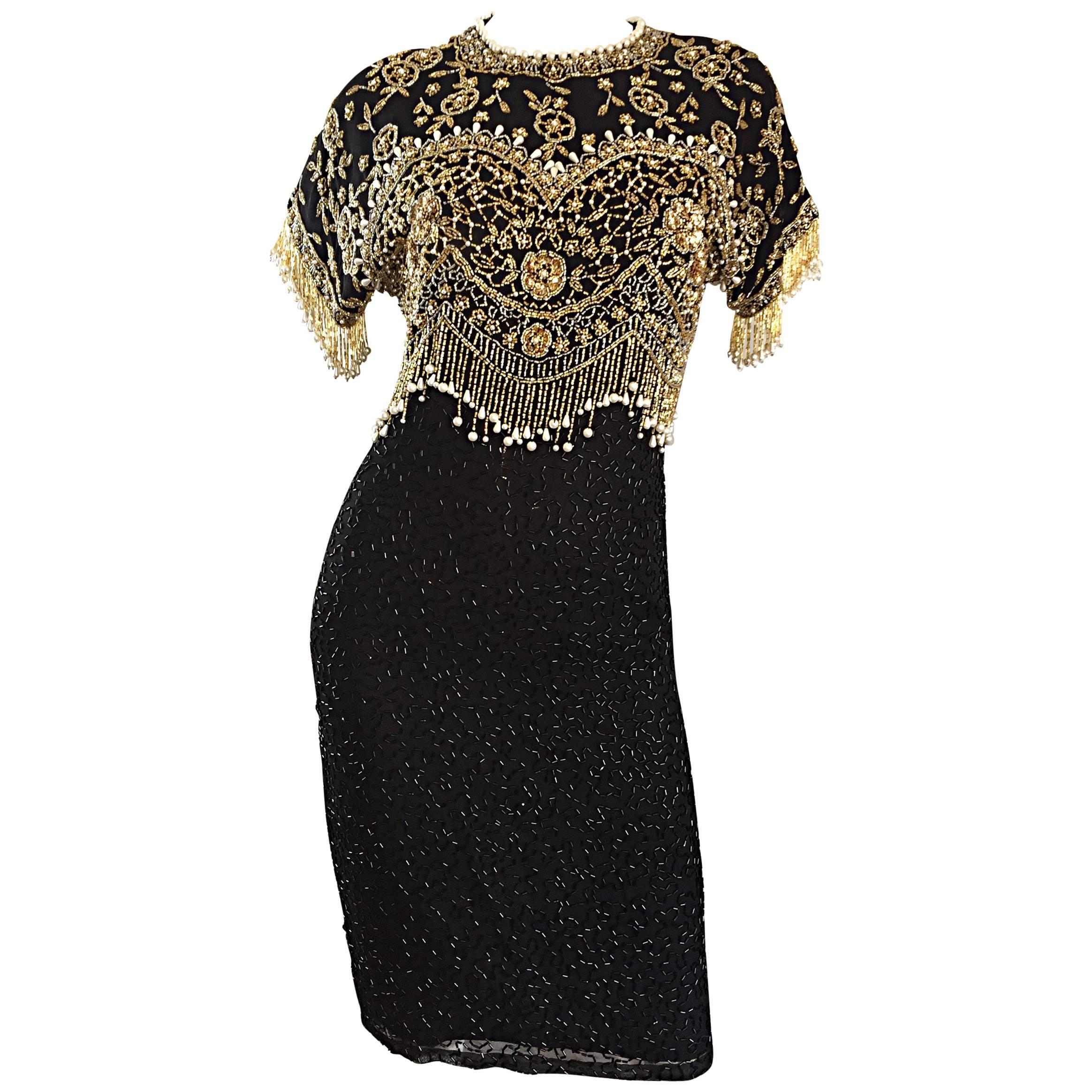 Vintage Lillie Rubin 1990s Amazing Fully Beaded Sequined Pearl Silk Fringe Dress