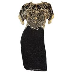 Vintage Lillie Rubin Size Medium Fully Beaded Sequined Pearl Silk Fringe Dress