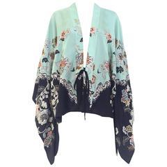 2000s Roberto Cavalli mint green silk print kimono top
