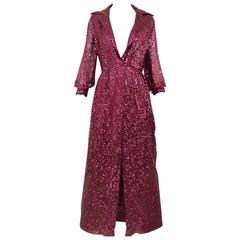 1970s Oscar De La Renta maroon sequin shirt dress