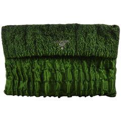 """Prada Emerald Green """"Cloquet Folders"""" SHW Multi Zippers Clutch"""