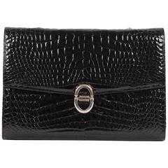 VINTAGE Black CROCODILE Leather CLUTCH Handbag FLAP PURSE