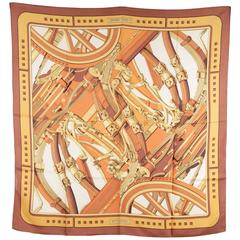 HERMES PARIS Vintage Brown Silk Scarf RYTHMES 1970 by Cathy Latham