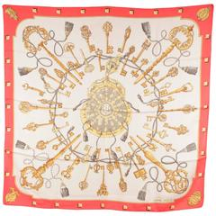 HERMES PARIS Vintage Silk Scarf LES CLES 1965 by Cathy Latham