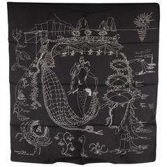 EMILIO PUCCI GUIDO RAVASI Vintage Black Silk SCARF La Canzone del Mare