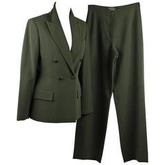 SALVATORE FERRAGAMO Green Wool SUIT BLAZER & PANTS Set SIZE 40 IT