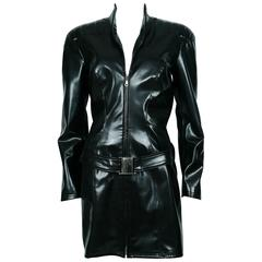 Thierry Mugler Vintage Black Rubber Belted Dress