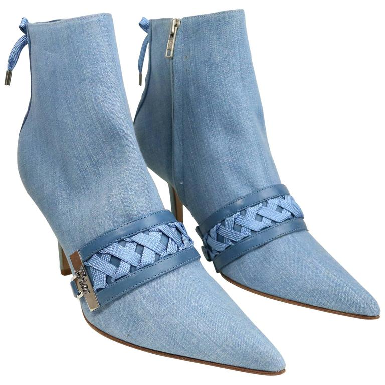 Christian Dior Denim Ankle Boots
