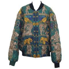 Hermes Reversible Silk Bomber Jacket Unisex 1990's