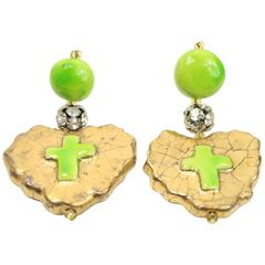 Christian Lacroix Green Gripoix Drop Heart Shaped Drop Clip-On Earrings